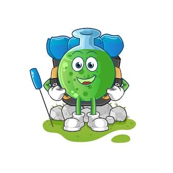 De mascotte van de mascotte van het chemische glas gaan kamperen cartoon