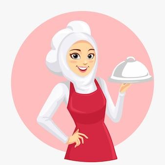 De mascotte van een vrouwelijke chef-kok die een rood schort draagt