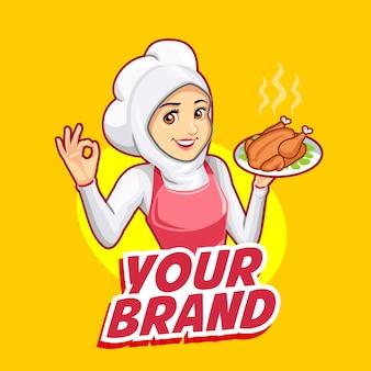 De mascotte van een vrouwelijke chef-kok die een roze schort draagt