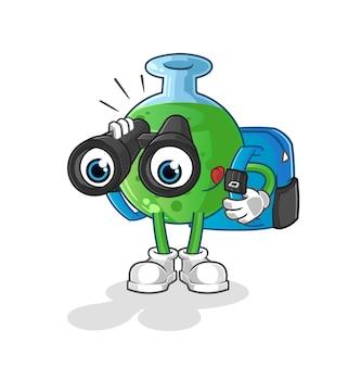 De mascotte van het chemische glas met verrekijker