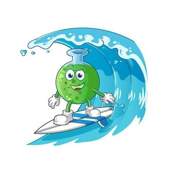 De mascotte van het chemische glazen surfkarakter