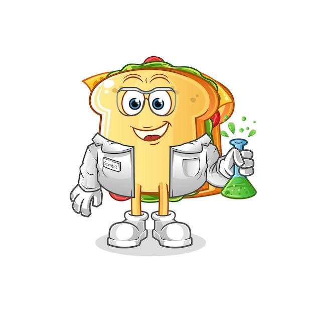 De mascotte van het karakter van de sandwichwetenschapper