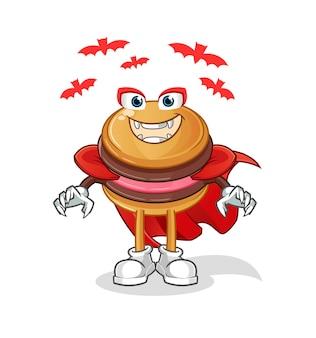 De mascotte van het karakter van macaron dracula