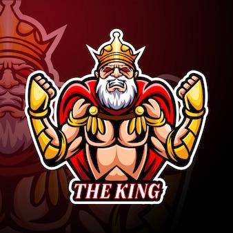 De mascotte van het king esport-logo