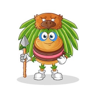 De mascotte van het macaron tribal man karakter