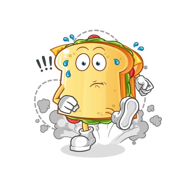 De mascotte van het sandwich lopende karakter