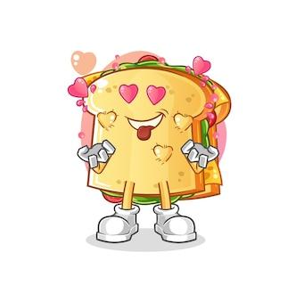 De mascotte van het sandwich verliefde karakter