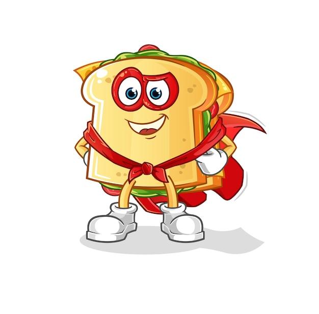 De mascotte van het sandwichheldenkarakter