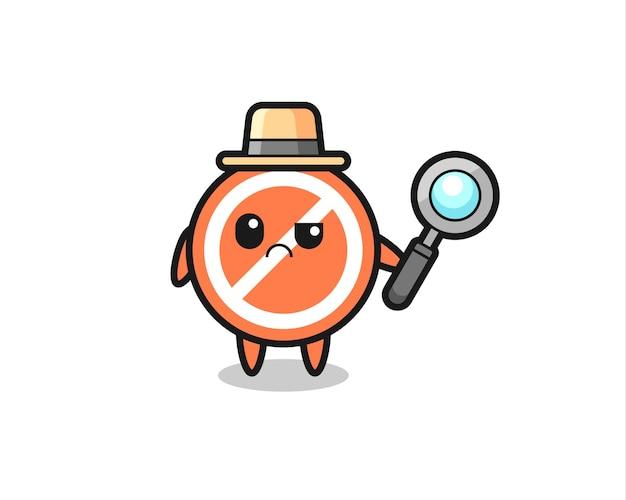De mascotte van schattig stopbord als detective, schattig stijlontwerp voor t-shirt, sticker, logo-element