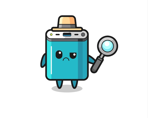 De mascotte van schattige powerbank als detective, schattig stijlontwerp voor t-shirt, sticker, logo-element