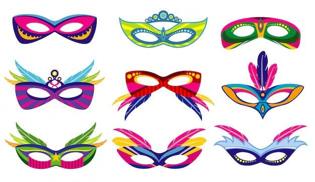 De maskersinzameling van geïsoleerde kleurenmardi gras