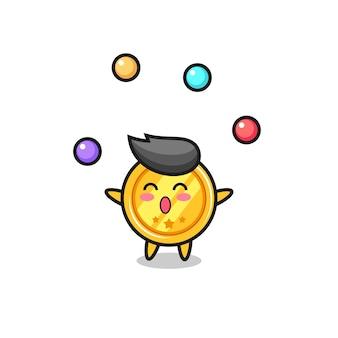 De medaillecircuscartoon jongleren met een bal, schattig stijlontwerp voor t-shirt, sticker, logo-element