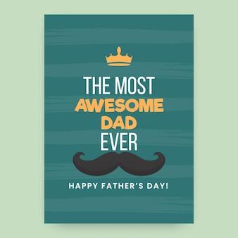 De meest geweldige vader ooit zin met kroon, snor op groenblauw achtergrond voor happy father's day.