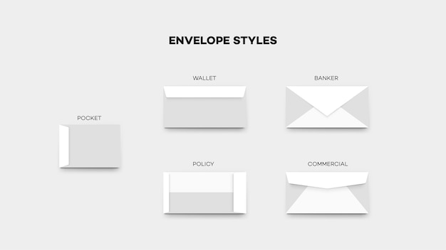 De meeste envelopstijlen, zak, portemonnee, polisbankier commercieel temlate