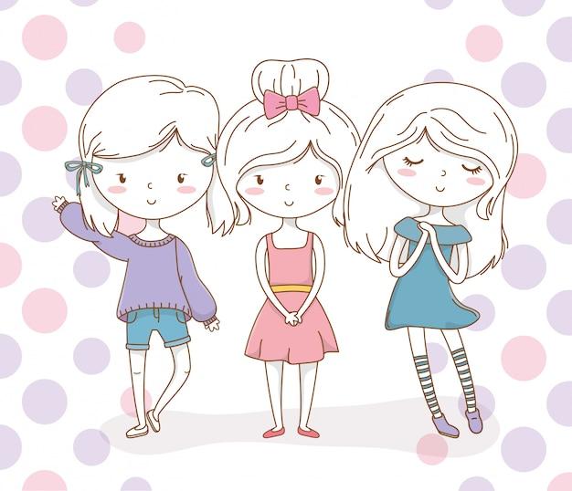De meisjes groeperen zich met pastelkleuren en gestippelde achtergrond
