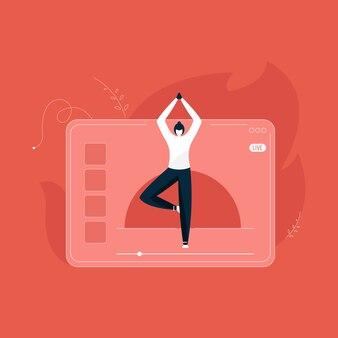 De meisjescoach leidt live een yogales, onderwijzend yoga online concept, binnenoefeningsillustratie, geschiktheidstrainer