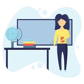 De meisjesleraar staat in de buurt van het schoolbord leraar in de klas met een boek in zijn handen