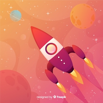 De melkwegachtergrond van de gradiënt met een raket