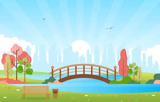 De mening van de de zomerlente in openlucht het landschaps vlakke illustratie van het stadspark