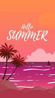 De mening van het silhouetlandschap van het overzees met de zomerkokosnotenbomen terwijl de zonsondergang in zonsondergangtijd en hemel met de grote zon in oranje kleur