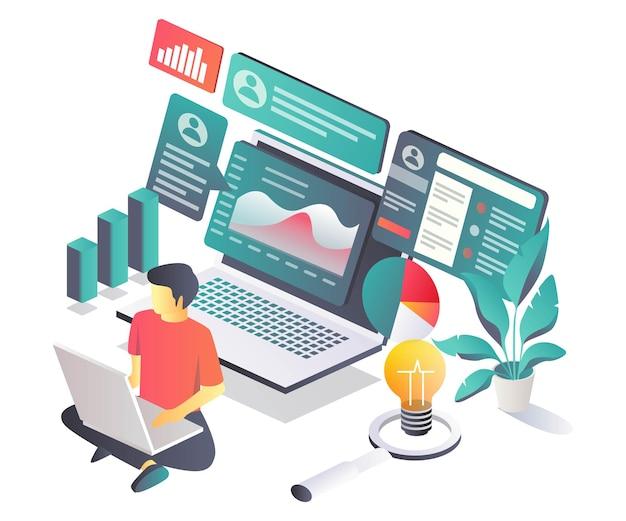 De mens analyseert marketinggegevens en advertenties op sociale media