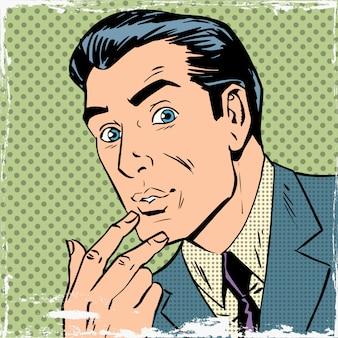 De mens dacht na over het denken van pop-art strips retro-stijl halftone