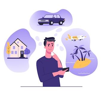 De mens denkt aan huis, auto en vakantie op zee. mannelijk personage droomt over rijkdom. illustratie