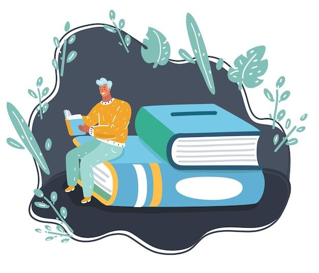De mens denkt en zit met boek