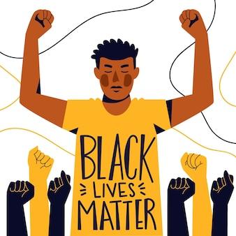 De mens die de zwarte beweging van de levensmaterie steunt Gratis Vector