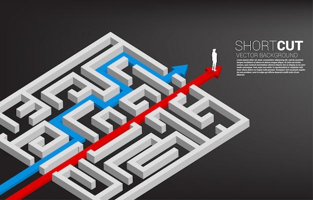 De mens die zich op de rode pijlroute bevinden breekt uit labyrint uit