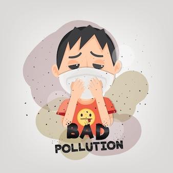 De mens draagt n95-masker om de buitenluchtvervuiling te beschermen.