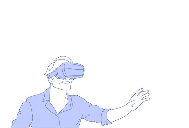 De mens draagt vr moderne 3d glazen die virtuele werkelijkheidsspelen spelen