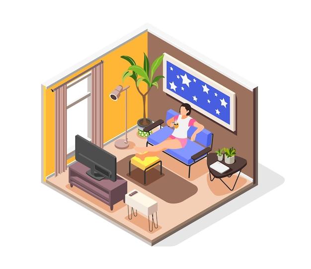 De mens heeft een isometrische compositie nodig met een jong meisje dat vrije tijd thuis doorbrengt, zittend op de bank met een kopje koffie voor de tv