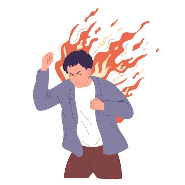 De mens is te boos, overmand door woede, uitbarsting van woede.