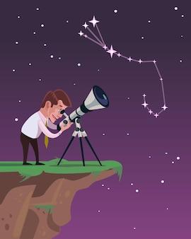 De mens kijkt door een telescoop