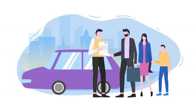 De mens koopt auto automobiele verkoper maakt contract vectorillustratie.