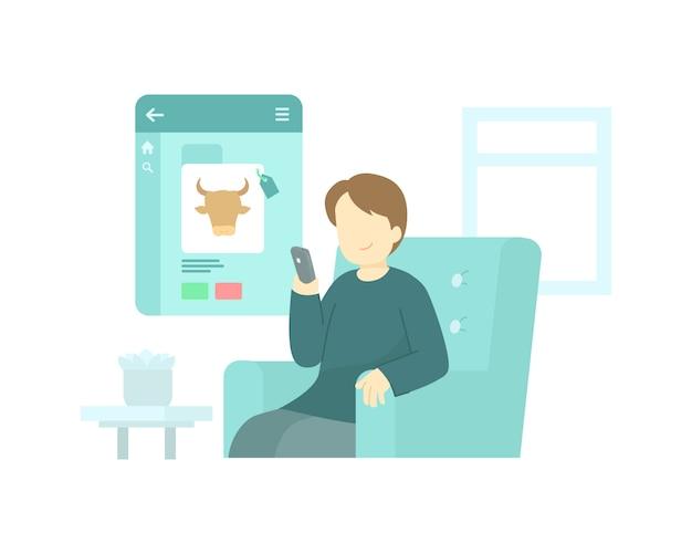 De mens koopt koe online gebruikend toepassing op zijn concept van de smartphoneillustratie