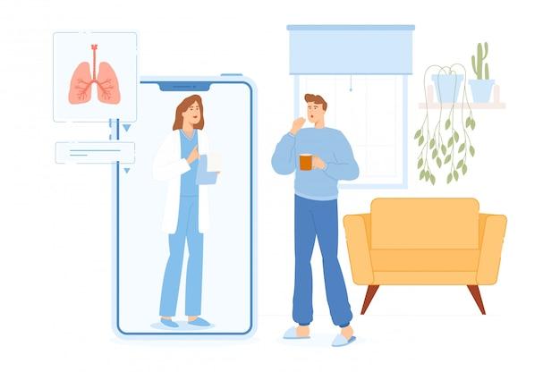 De mens met symptomen van ziekten heeft online interactie met arts online.