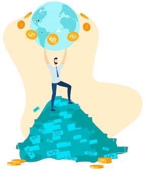De mens op geldstapel houdt bol met rond muntstukken