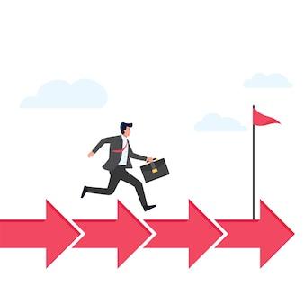 De mens rent boven voorwaartse pijlen om metafoor van werk aan proces te richten.