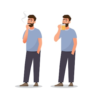 De mens rookt sigaret en drinkt bier. gezond concept, llustration stripfiguur