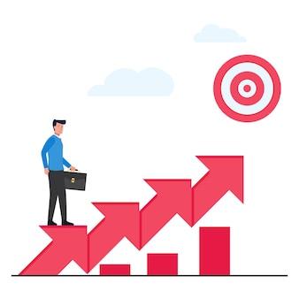 De mens staat boven de pijlen omhoog naar de doelmetafoor van werk aan proces.