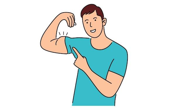 De mens toont zijn spieren