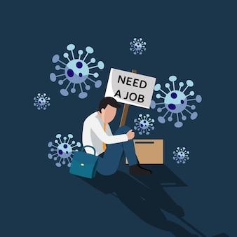 De mens voelt zich depressief als hij een baan verliest vanwege de impact van het coronavirus. economiecrisis. werkloos, werkloos, ontslagen, ontslagen. plat ontwerp