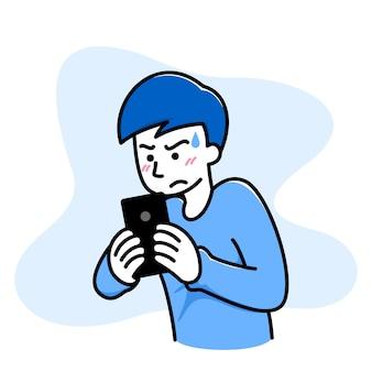 De mens voelt zich verward, boos, slecht als hij een spel op zijn mobiel speelt.