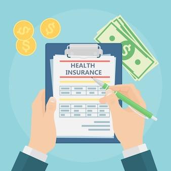 De mens vult de vorm van een ziektekostenverzekering in. gezondheidszorg concept. claimformulier en geld