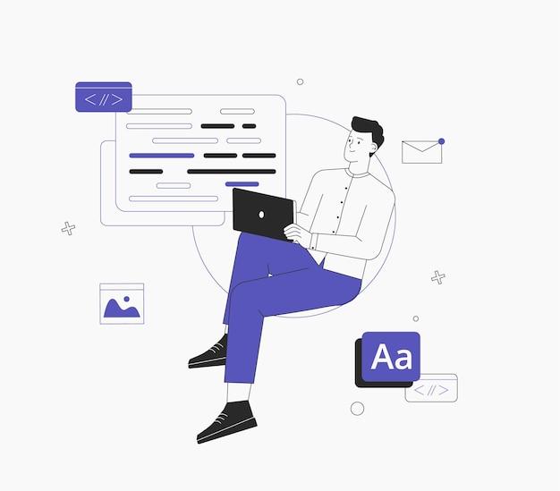 De mens werkt aan een ui ux-ontwerpproject. programmeur, zit op infographic en werk op laptop. freelancer die werkt aan web- en applicatieontwikkeling op computers. software ontwikkelaars.