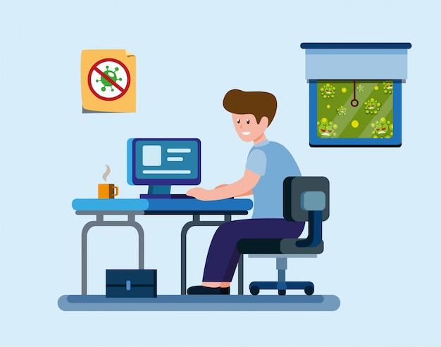 De mens werkt van huis aan bescherming tegen virusinfectie, beambte of student in zelfquarantaineactiviteiten in beeldverhaal vlakke illustrtievector