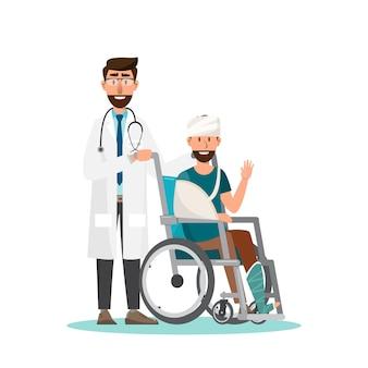 De mens zit op een rolstoel met arts zorgt.