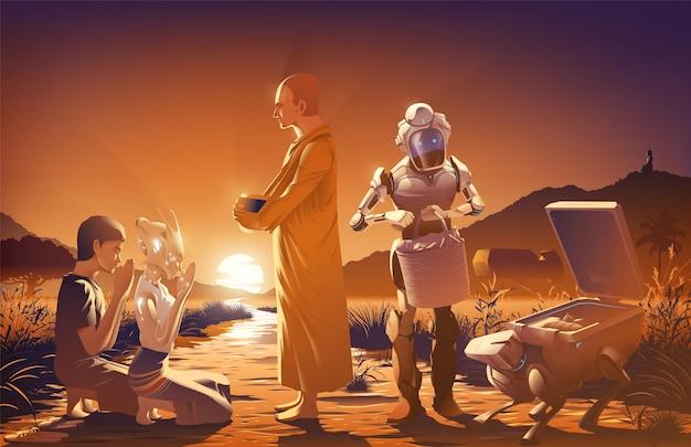 De menselijke echtgenoot met de buitenaardse vrouw geeft een aalmoes aan een monnik